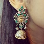 Peacock Earrings in Emerald with 2 tone plating #3014